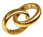 Gold Wedding Rings Linked Together — Stock Photo