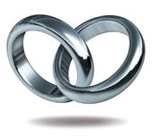 Love Rings Linked In A Heart Shape — Stock Photo