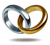 Love Rings Titanium and Gold Heart Shape — Stock Photo