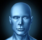 Human head frontal view — Stock Photo