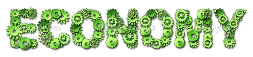 Economy concept with green gears and cogs in the shape of text representing the state of the economic industries.  Stock Photo #10534507