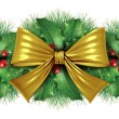 Christmas Gold bow border decoration — Stockfoto