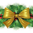 Christmas Gold bow border decoration — Stock Photo