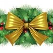 圣诞金色弓边框装饰 — 图库照片