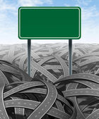 Challenges and obstacles with blank highway sign — Stock Photo