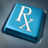 Prescription rx blue computer key — Stock Photo