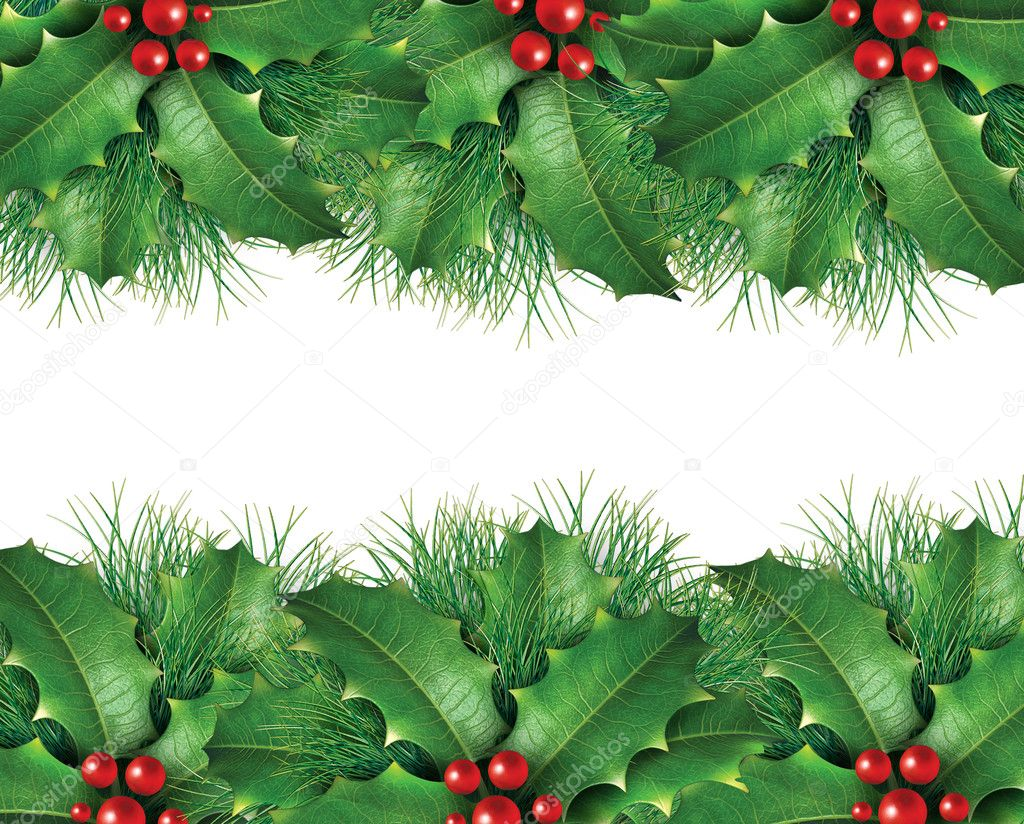 Christmas background image with  wreath holly and green pine — Stock Photo #7977226