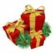 Christmas gifts with pine holly — Stockfoto