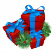 Christmas gifts with pine holly — Stock Photo #8036905