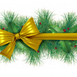 Red bow with pine border — Stock Photo #8037096