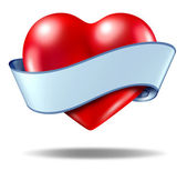 Heart concept and love icon with a blank ribbon scroll — Stock Photo