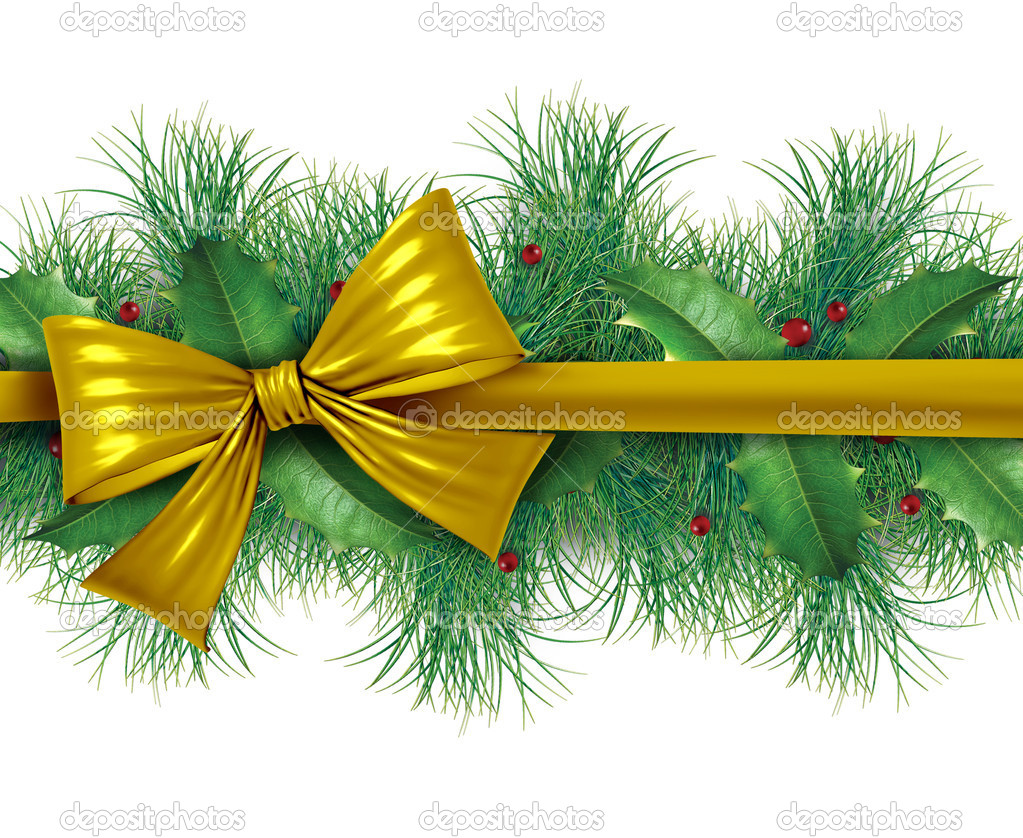 Red silk bow with pine border ornamental holiday decoration for Christmas festive winter celebration on a white background. — Stok fotoğraf #8037096