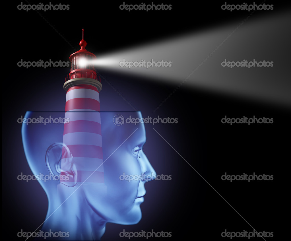 Leadership and Guidance with a  human head and a lighthouse beam of glowing light symbol facing forward as guidance for a concept of success and strategic plan  Stock Photo #8607751
