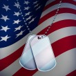 Dog Tags with An American Flag - Stock Photo
