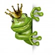 Frog Prince with Gold Crown Holding a Vertical Blank Sign — Stock Photo #8732022
