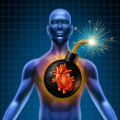 Human Heart Attack Time Bomb - Stock Photo