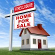 Foreclosure Home For Sale Sign And House — Stock Photo