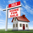 Постер, плакат: Sold Home For Sale Sign And House