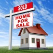 Stock Photo: Sold Home For Sale Sign And House