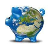 Europe Economic Crisis as World Map Piggy Bank — Stock Photo