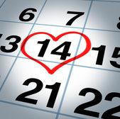 Kalender-sida med ett hjärta på saint alla hjärtans dag — Stockfoto