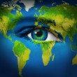Stock Photo: Human Eye Earth Planet