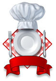 Diseño de restaurante con una placa y sombrero — Foto de Stock