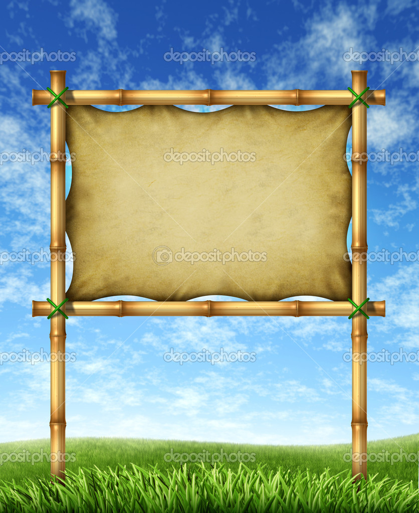 Vacation sign billboard made of bamboo sticks with blank stretched leather canvas for your text on a bright blue sky and green grass representing a tropical trip message for traveling to hot destinations in the sun. — Stock Photo #9446829