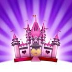 粉红女孩城堡 — 图库照片