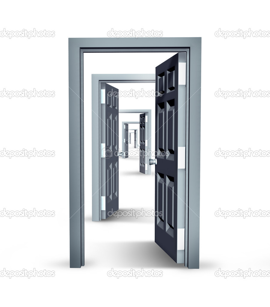 Infinite opportunities business concept with opened doors in an infinity perspective as a financial symbol of future success and opportunity in career and job promotion or having confidence and courage to move forward. — Stock Photo #9839323