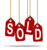 Sold Retail Price Tag Sign — Stock Photo