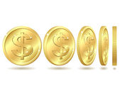 Golden coin with dollar sign — Stockvektor