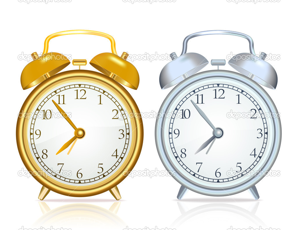Gold alarm clock and silver alarm clock on white background — Stock Vector #10608006