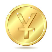 Golden coin with yuan sign — Stock Vector