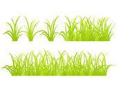 набор элемента зеленая трава — Cтоковый вектор