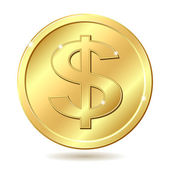 Golden coin with dollar sign — Stock Vector