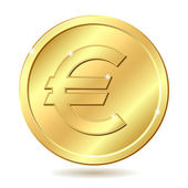 Golden coin with euro sign — Stock Vector