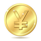 Golden coin with yen sign — Stok Vektör