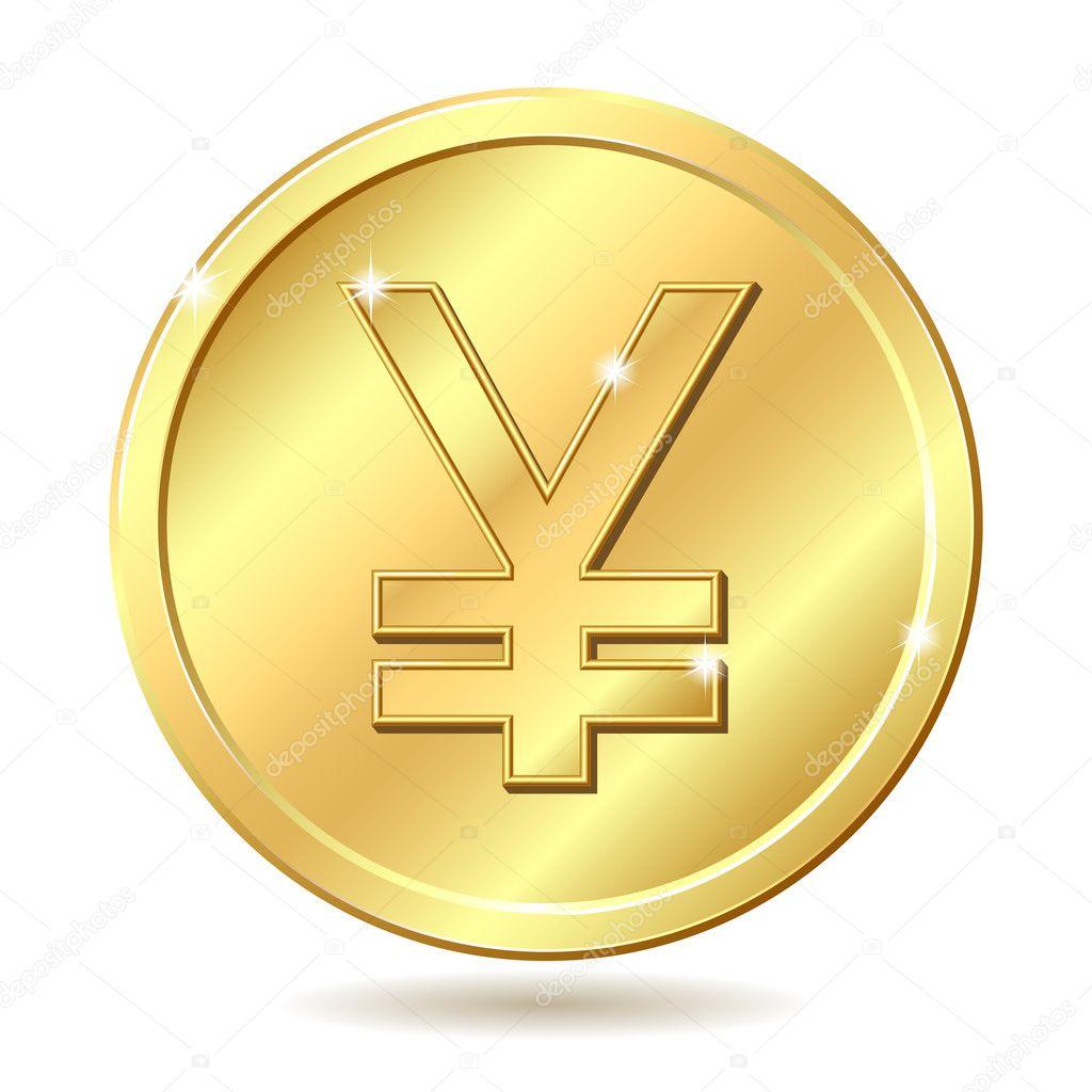 日元符号的金币 孤立在白色背景上的矢量图