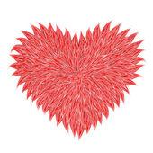 Fluffy rood hart — Stockvector