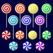 Delicious colorful lollipop collection — Stock Vector