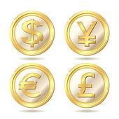 Set of golden coin — Stock Vector