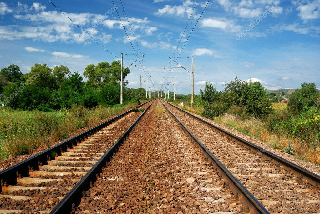 Electrified railway in Romania — Stock Photo #10560097
