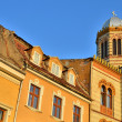 Stockfoto: Byzantine medieval center with style church in Brasov city, Romania