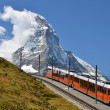 Gornergrat train and Matterhorn (Monte Cervino), Switzerland lan — Stock Photo #8223223