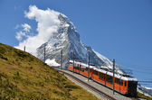 Gornergrat train and Matterhorn (Monte Cervino), Switzerland lan — Stok fotoğraf