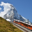 Gornergrat train and Matterhorn (Monte Cervino), Switzerland lan — Stock Photo