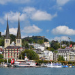 Luzern (Lucerne or Lucerna) and Hofkirche church — Stock Photo