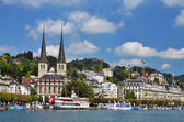 Luzern (Lucerne or Lucerna) and Hofkirche church — Stock Photo