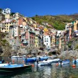 Riomaggiore with colored houses, Cinque Terre - Stock Photo